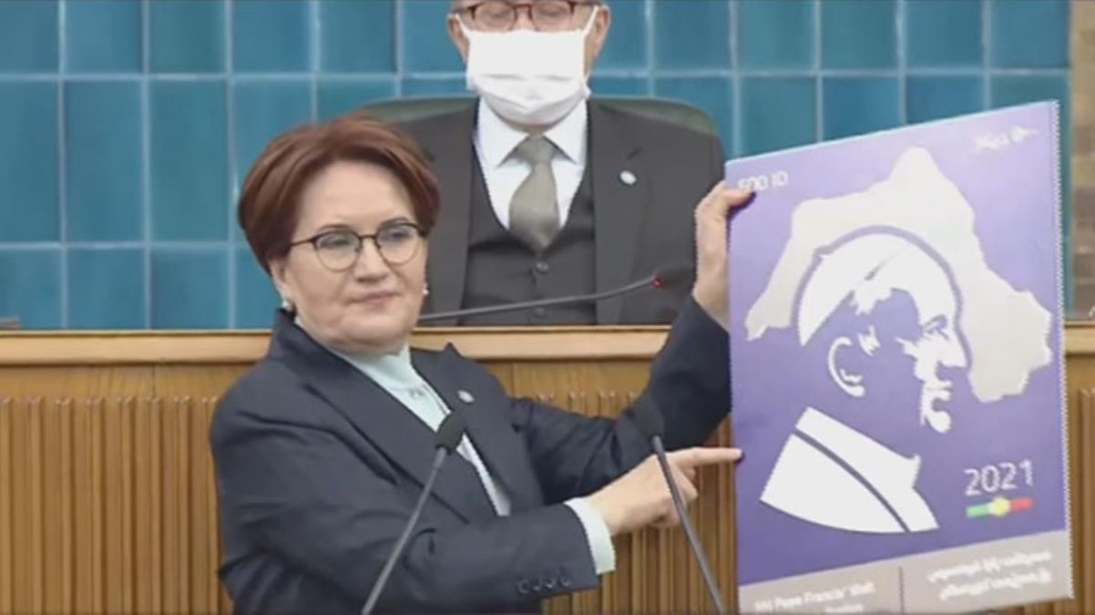 Akşener, Papa pulundaki skandal harita üzerinden hükümete yüklendi