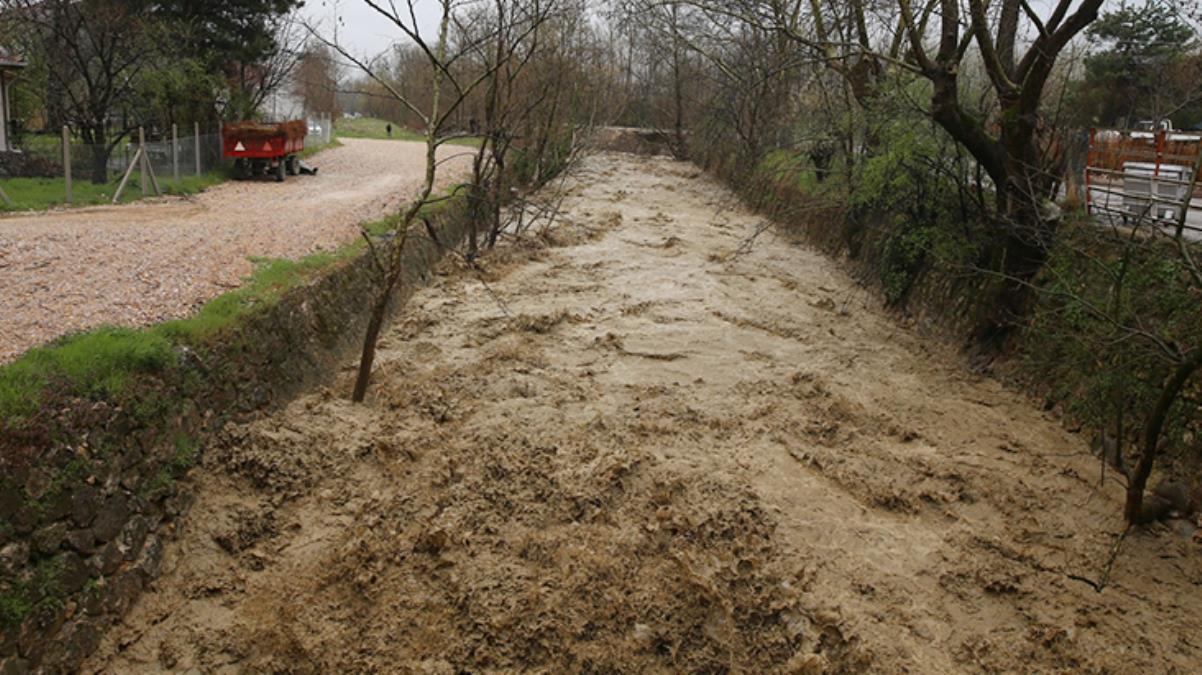 Bursa'da taşan dere sele neden oldu! Ağaçlar yerinden söküldü, tarlalar sular altında kaldı