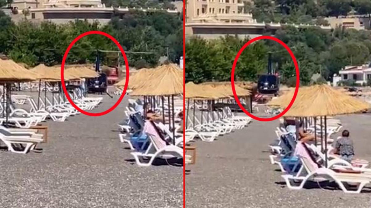 Herkes bir anda aynı yere baktı! Yemek yemek için halk plajına helikopterle indiler
