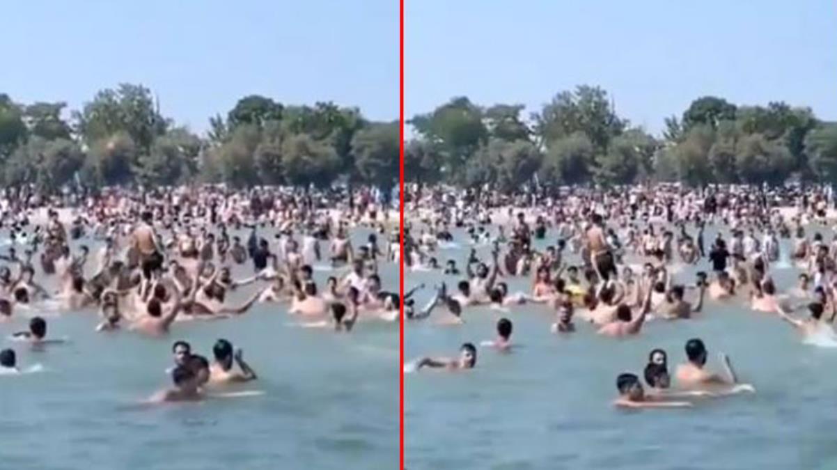 İstanbul'un göbeğindeki plajda ilginç anlar! Suriyeliler 'Allahu Ekber' diye bağırıp denizde eğlendiler