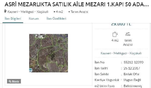 Kayserili Vatandaş, Mezar Yerini İnternette Satışa Çıkardı