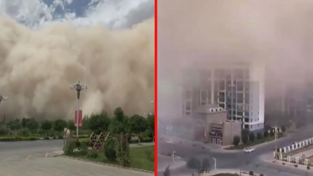 Saniyeler içinde tüm şehri yuttu! Çin'deki kum fırtınası kamerada
