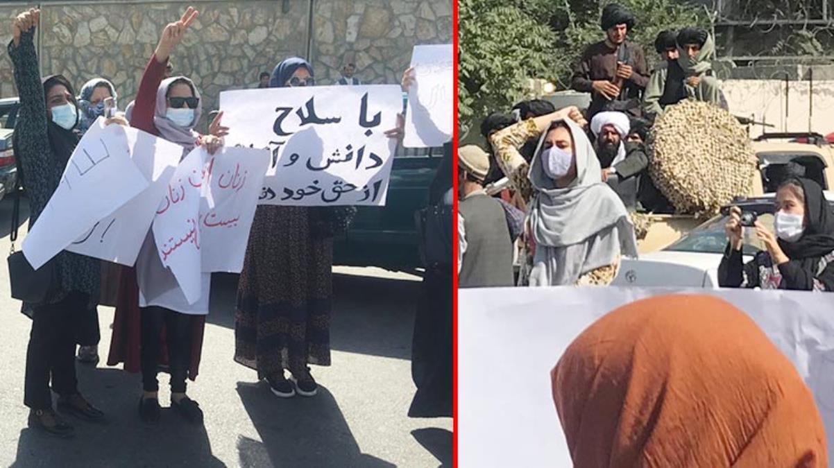 Afgan kadınlar sokakta! Taliban üyelerinin karşısına geçip eylem yaptılar