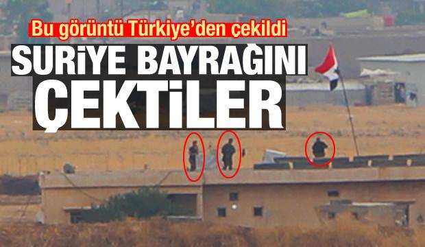 Bu görüntü Türkiye'den çekildi! Suriye bayrağını astılar