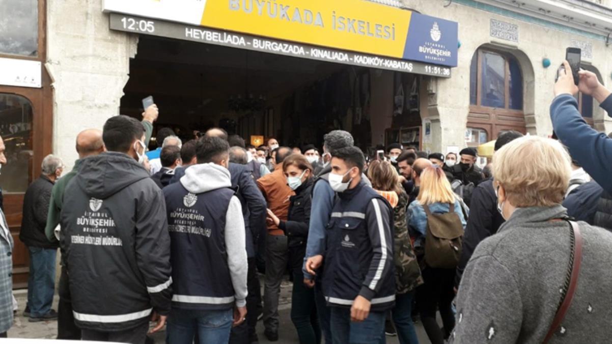 Büyükada'da tahliye krizi! İBB zabıtaları ile TÜGVA çalışanları arasında arbede