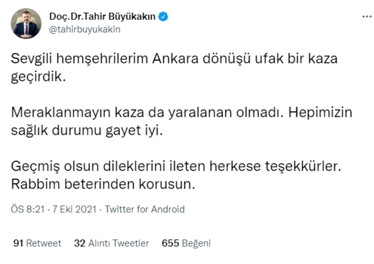 Büyükşehir Belediye Başkanı Büyükakın'ın makam aracı kaza yaptı