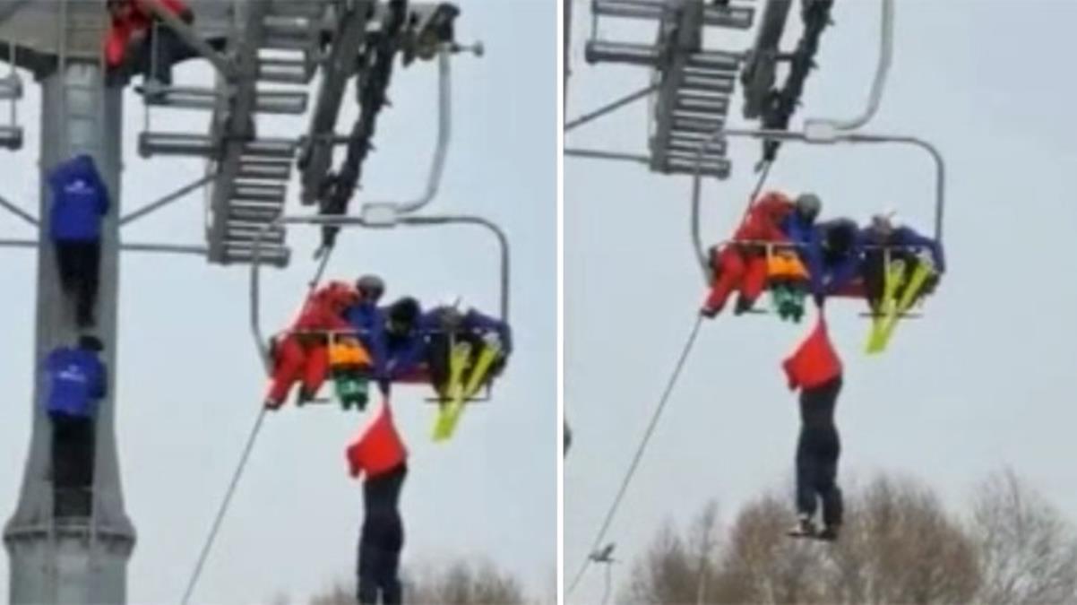 Çin'de telesiyejde asılı kalan turist metrelerce yüksekten aşağı çakıldı