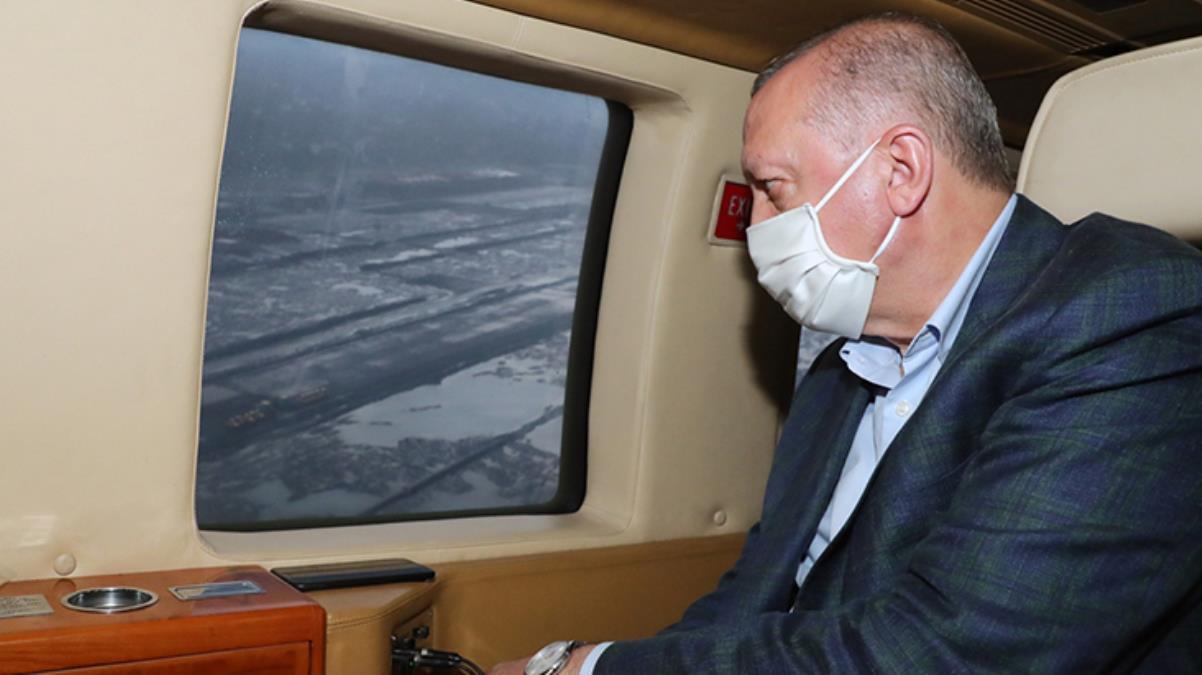 Cumhurbaşkanı Erdoğan'ı taşıyan helikopter hava muhalefeti yüzünden 2 kez iniş yapamadı