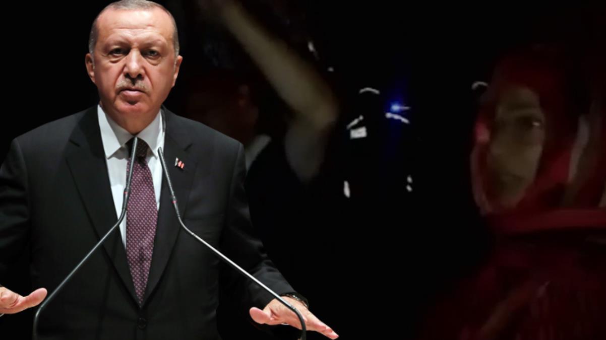 Cumhurbaşkanı Erdoğan'ın söyleminden rahatsız olan köylüler, konvoyun geçişi sırasında slogan attı