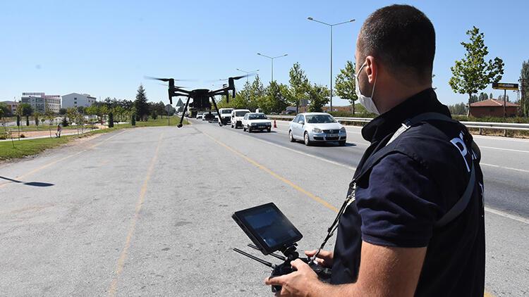 Eskişehir'de Kurban Bayramı trafiğine 'dronlu' denetim