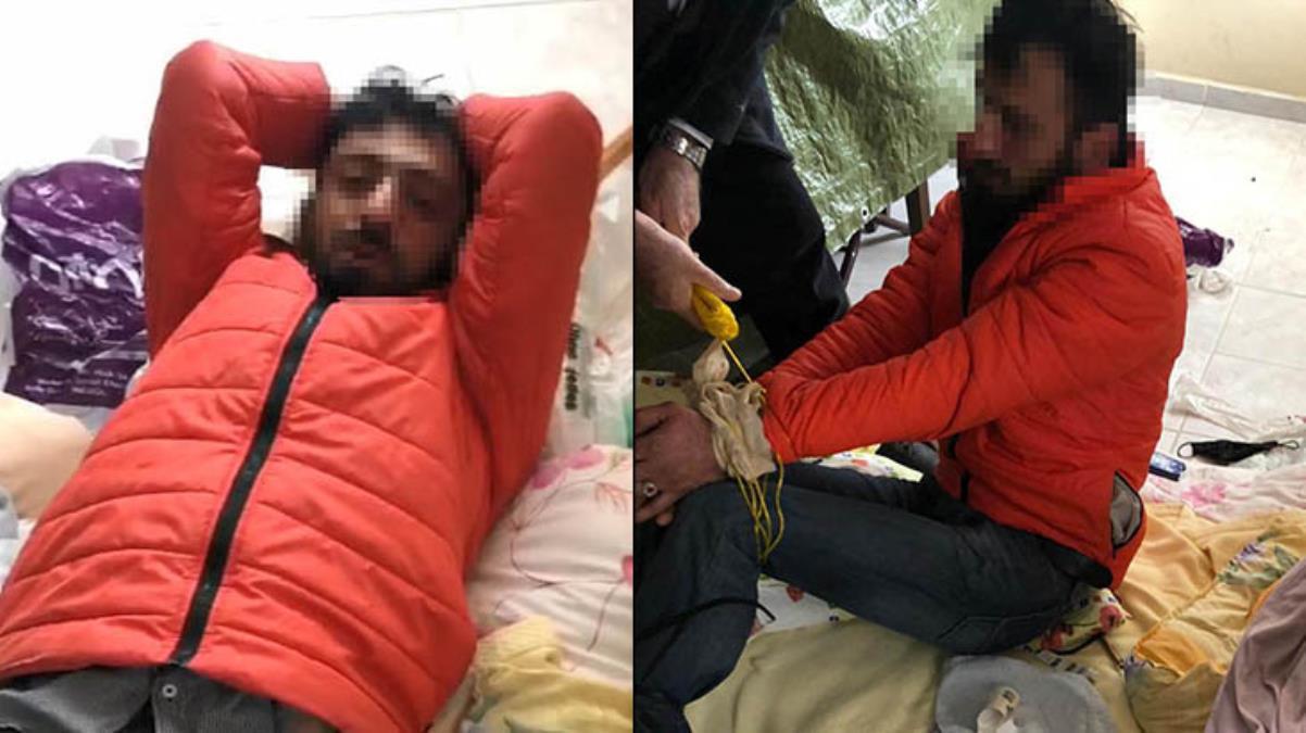Girdiği villada uyuya kalan hırsızlık şüphelisi, vatandaşlar tarafından bağlanarak yakalandı