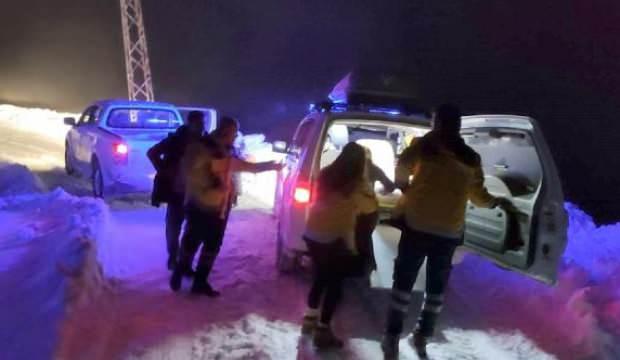 Hamile kadınının imdadına karla mücadele ekipleri yetişti