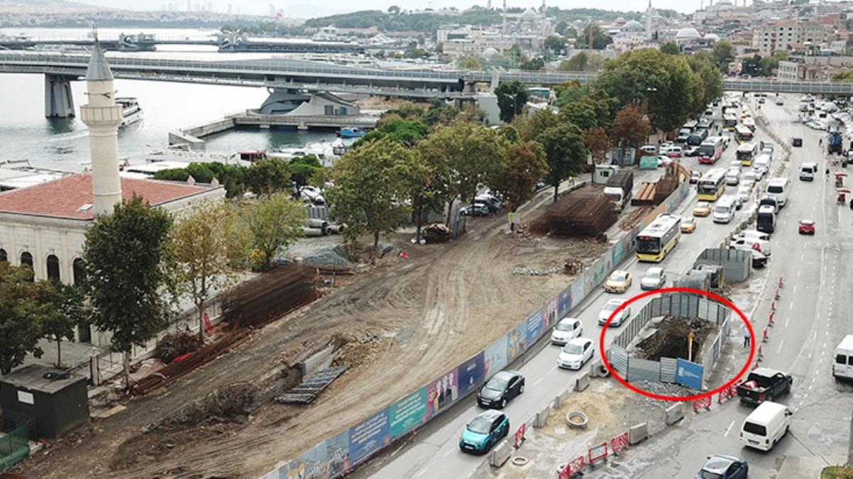 İstanbul'un göbeğindeki İSKİ kazısında tarihi keşif 1500 yıllık sur kalıntıları bulundu