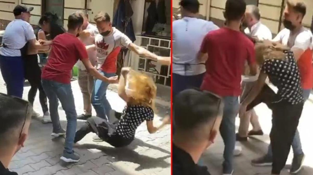 Kavgaya tutuşan genç kızları esnaf güçlükle ayırdı
