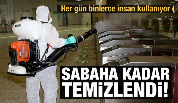 Marmaray istasyonlarında dezenfekte çalışması