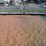 Patlayan su borusu denizin rengini değiştirdi