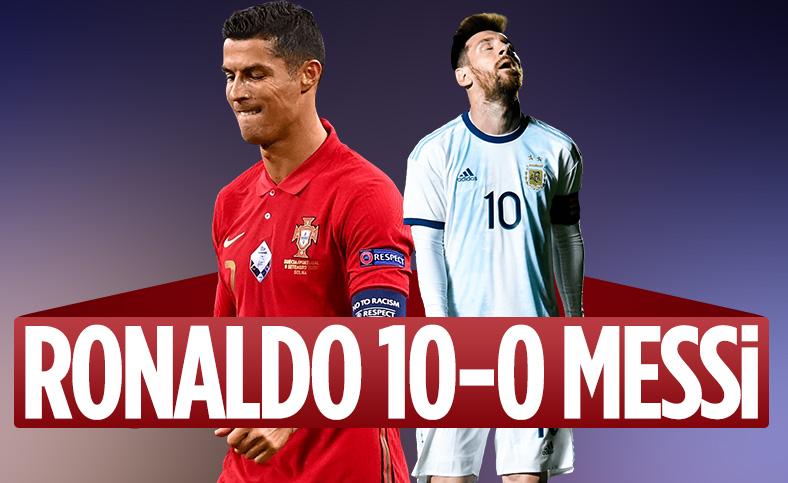 Ronaldo, Messi'ye milli takımda fark attı