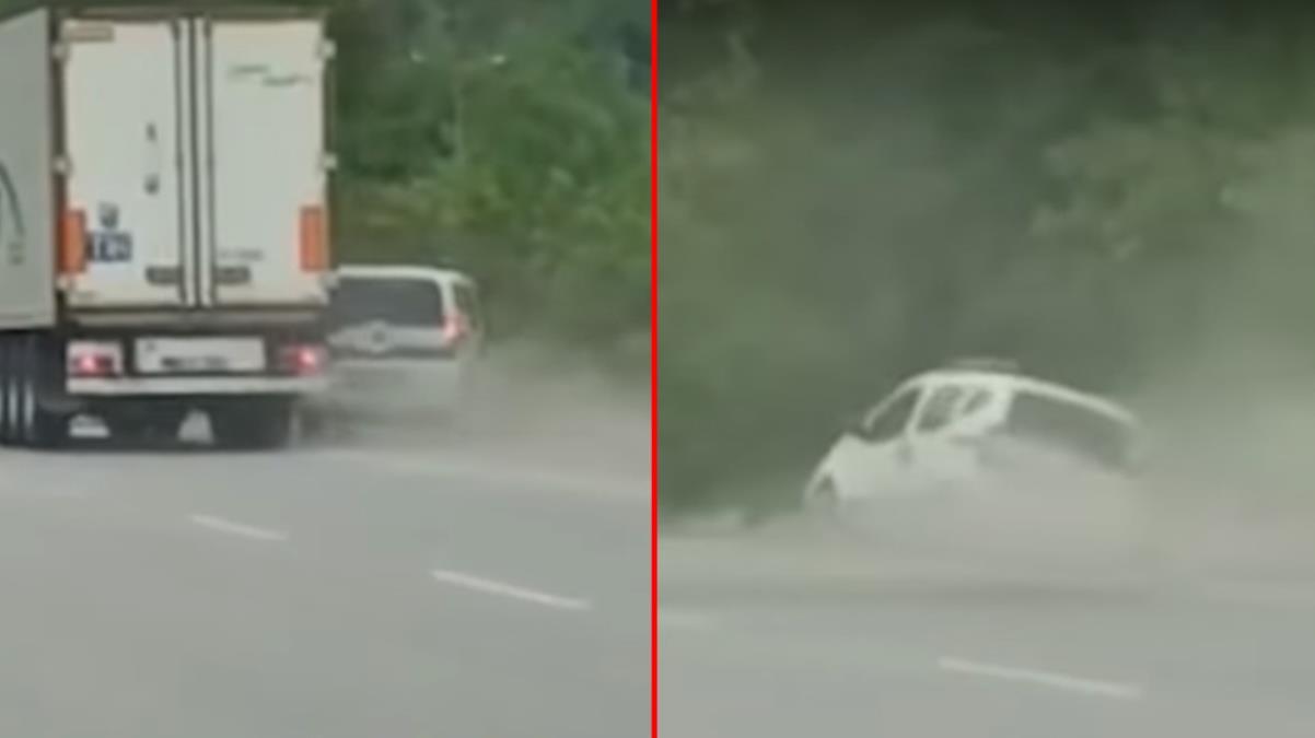 Samsun'da trafikte akılalmaz kavga! Tır sürücüsünün sıkıştırdığı araç bir anda yol kenarına savruldu