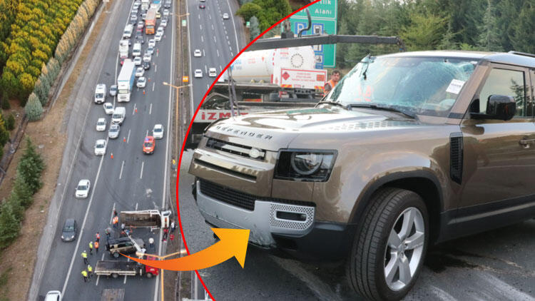 Son dakika haberler... Lüks cipi taşıyan çekici devrildi! Trafik felç oldu