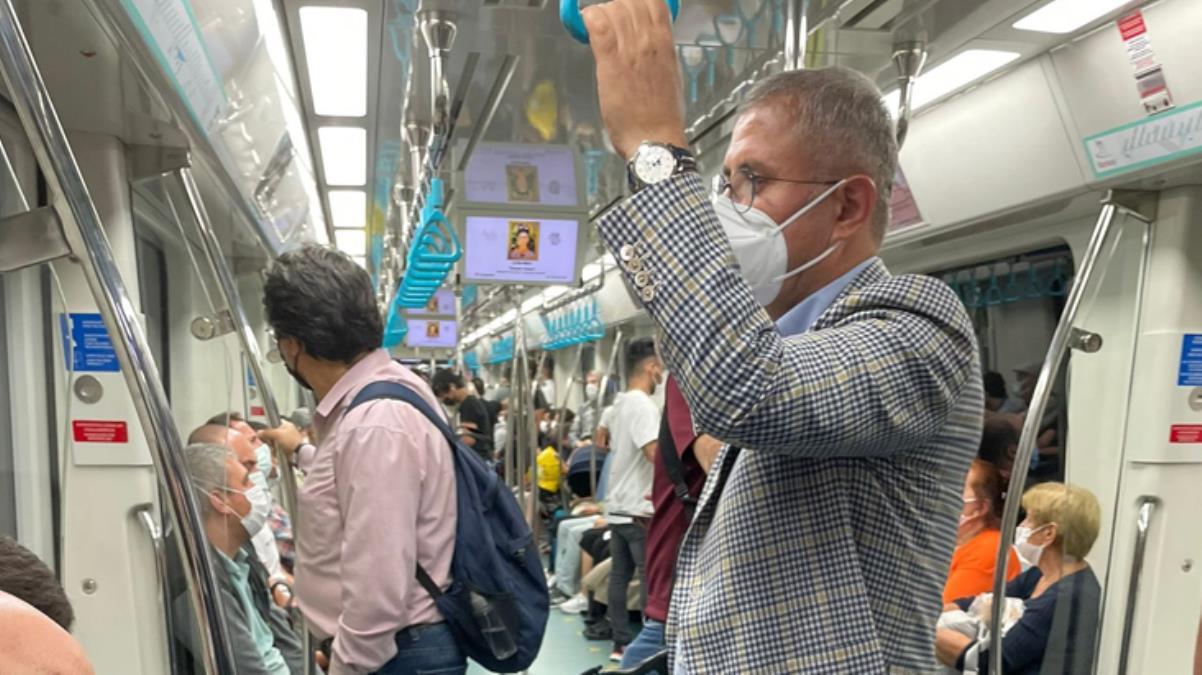 Üsküdar Belediye Başkanı Hilmi Türkmen metroda yolculuk ederken görüntülendi