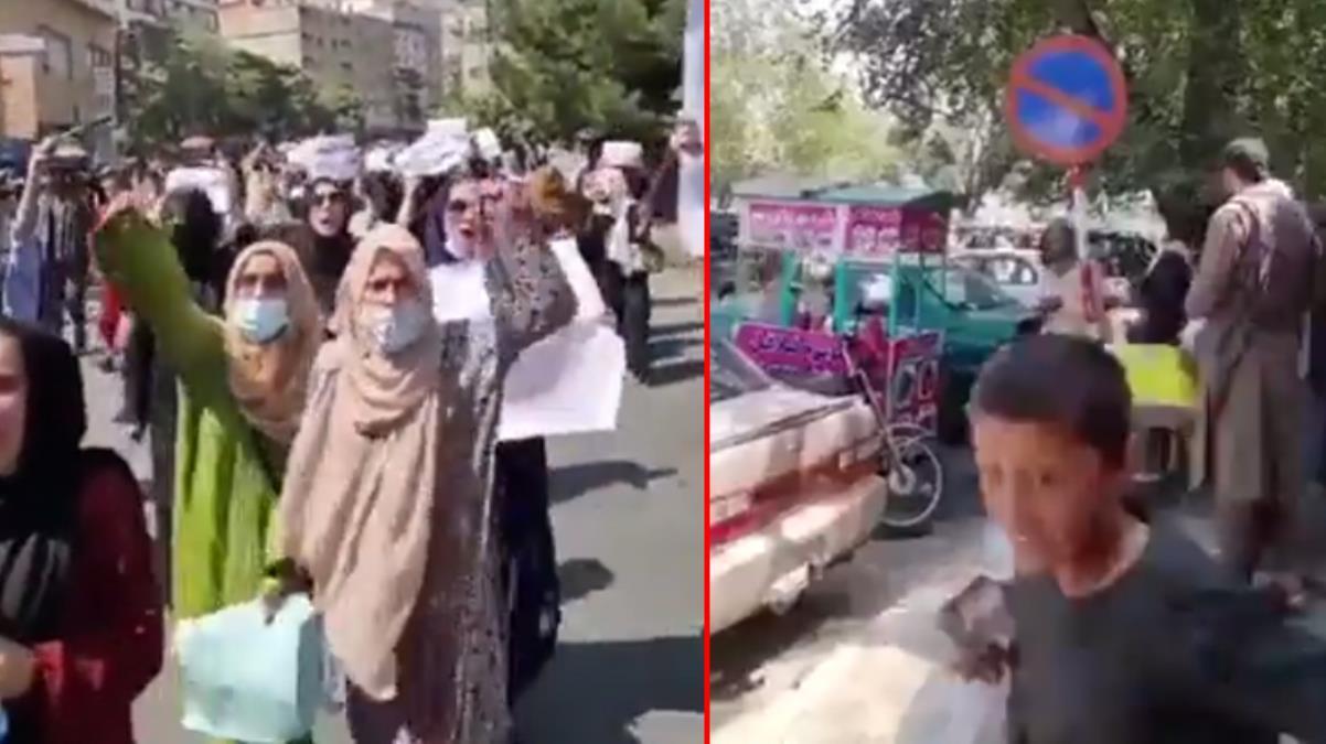 Yüzlerce Afgan kadın, Kabil sokaklarını 'Özgürlük' sloganlarıyla inletti! Taliban göstericileri ateş açarak dağıttı